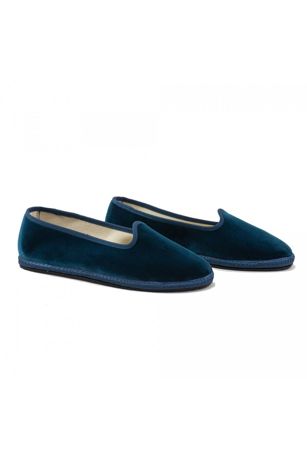 Venetian Velvet Slippers - Denim Blue