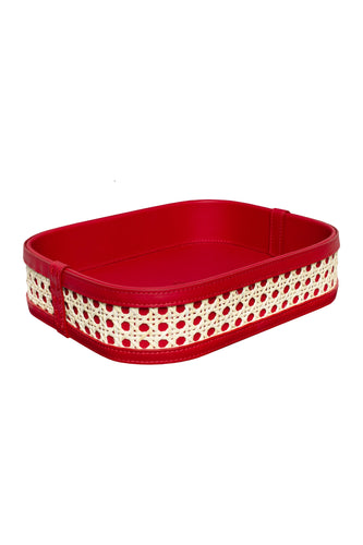 Midi Leather Rattan Tray - Red