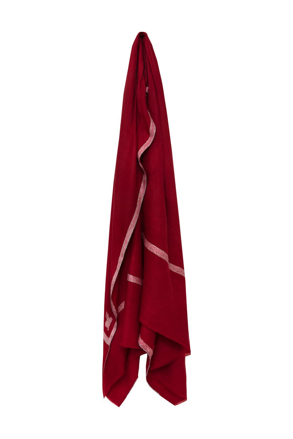 Embroidered Cashmere Pashmina - Red
