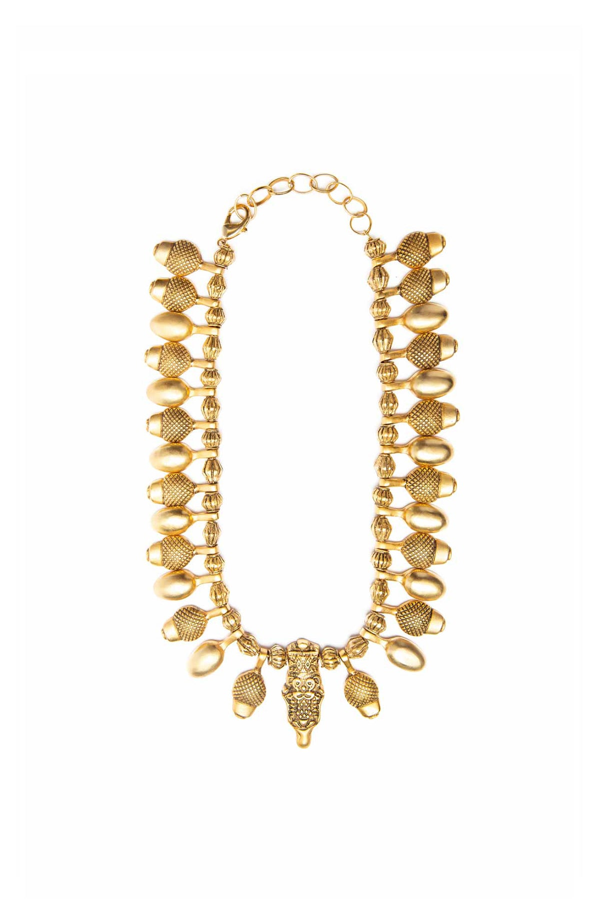 Gold Acorn Tribal Necklace