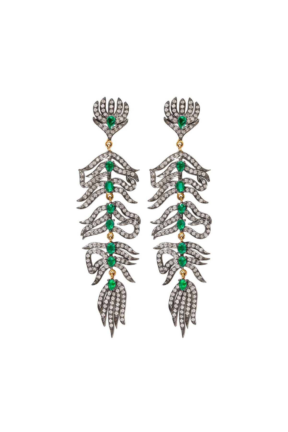 Diamond & Emerald Feather Earrings