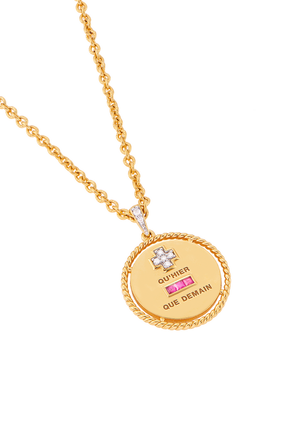 Love Pendant Necklace with Gold Surround