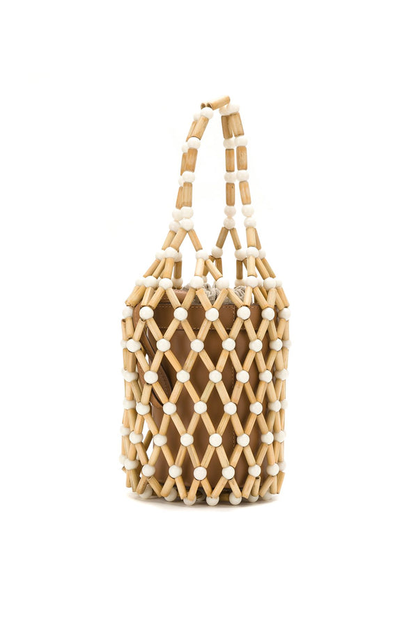 Fefi Bamboo Bucket Bag - White