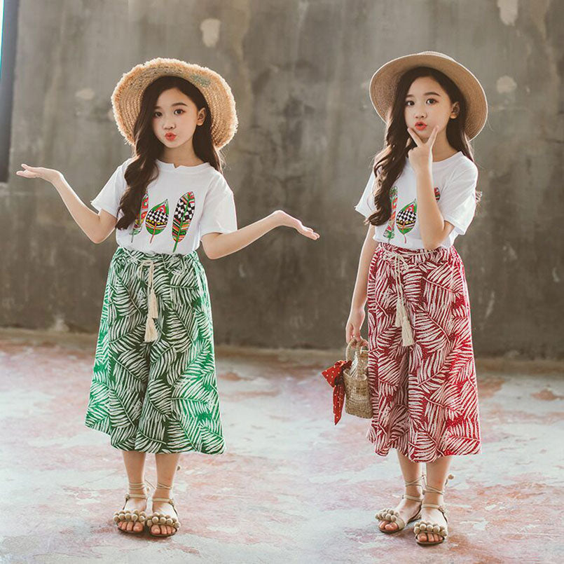 Summer Girls Clothes Sets Baby Girl Short Sleeve Shirt Top+Shorts Suits Kids Clothing Printed Children's Clothes 2pcs