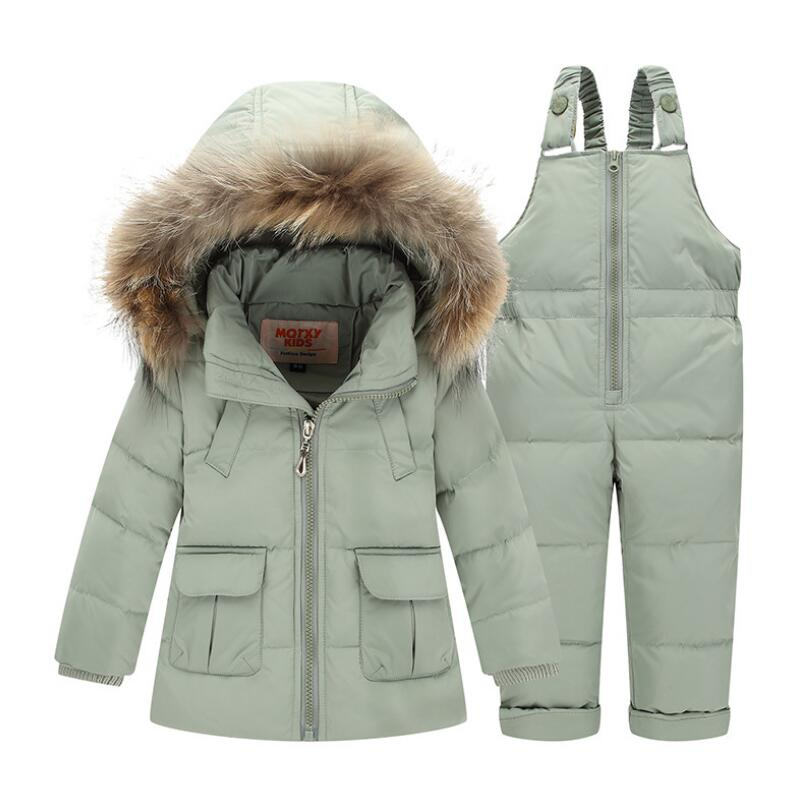 Winter for Boys Coat Girls Ski Suit Children Clothing Set Baby Duck Down Jacket + Pants Overalls Warm Kids clothes Snowsuit