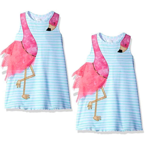 Summer Kids irls Dress Baby Girls Bird Cartoon Striped Party Pageant Toddler Fashion Holiday Beach Dress Children Clothes