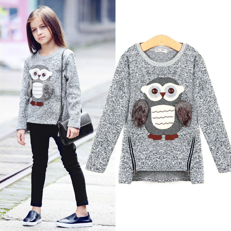 Sweater For Girls Kids Toddler Girsl Sweaters Pullover for Winter Autumn 2018 Clothes Cute Owl Warm Fleece Lined with Zipper