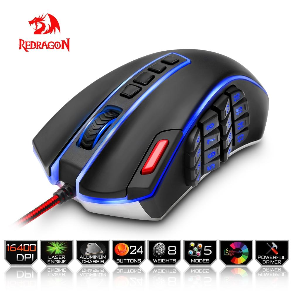 Redragon USB Gaming Mouse 16400 DPI 24 buttons ergonomic design for desktop computer accessories programmable gamer lol PC-BUYALL20