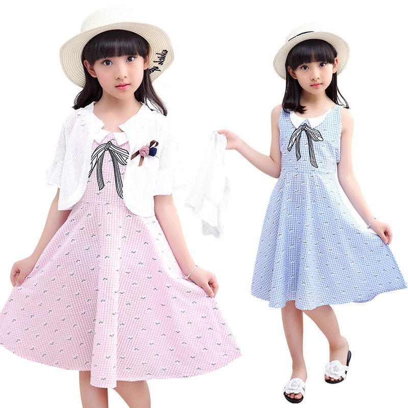 Elegant Teenage Girls Summer Clothing Sets Girls Princess Dress Two-piece Suit Fashion Kids Clothes Children Dresses