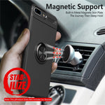 Phone Case Ultra Slim Silicon Armor Anti-knock Car Magnetic Metal Ring Bracket Cell Phone Shell Case for IPhone X 6/6S 7/8 Plus-BUYALL20