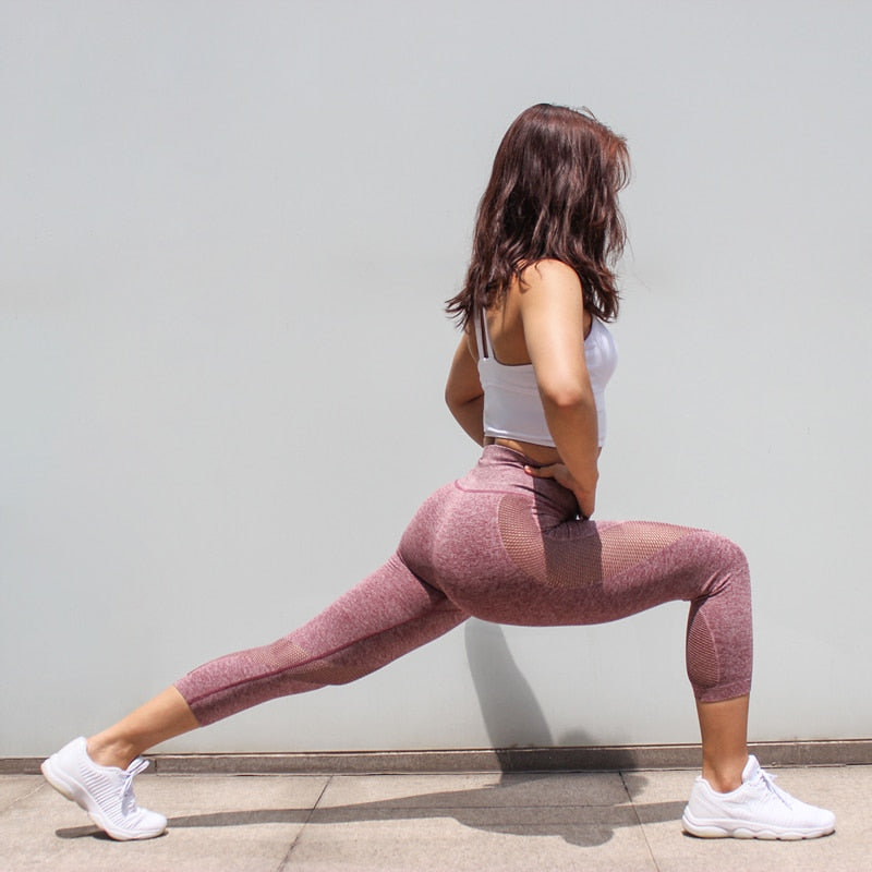 Sexy Mesh Breathable Workout Women Sport Pants Solid Tight Elastic High Waist Quick Dry Gym Fitness Yoga Leggings-BUYALL20