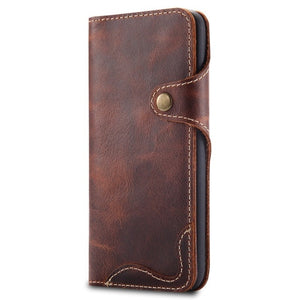 Luxury Business Style Genuine Real Leather Case for Samsung Galaxy S8 S9 S10 Plus Case Flip Wallet Card for Samsung-BUYALL20