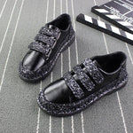 Sneakers Women Flats red Black Silver Shoes Rhinestone Bling Casual Shoes Korean Luxury Creepers Superstar Shoes