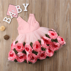 Toddler Baby Kids Girls clothes Flower print V-neck sleeveless Tulle Bow Casual cotton backless Summer Mini Dresses one pieces