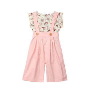 Princess Kids Baby Girls Sets Cotton Summer Clothes Floral Sleeveless Vest Top Bibs Wide Leg Pants 2Pcs