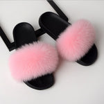 Women Flat Non-slip Solid Fox Fur Slides Real Fox hair Slides Large Size Slippers-BUYALL20