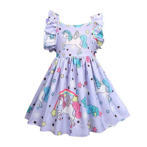 Little Pony Uncorn Rainbow Dress Girls Dresses For Party Wedding Backless Mermaid Dress For Kids Clothes Unicornio Party Dresses