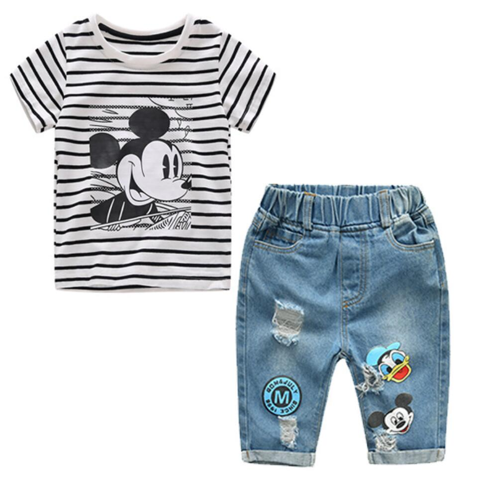Infant Boys Girls Summer Cartoon Striped T Shirt + Denim Shorts Clothes 2pcs Sets Children Kids Hole Jeans Clothing