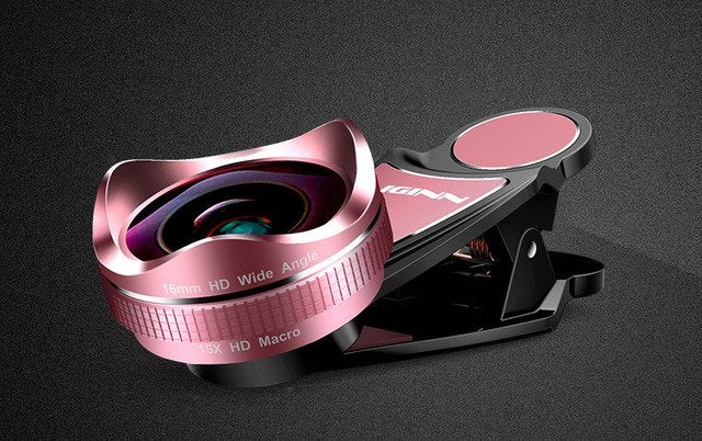 LIGINN Pro Universal 16mm Distortionless Super Wide angle Lens With 15X Macro 2 in 1 Camera Lens Kit For iPhone Xiaomi LG L-620