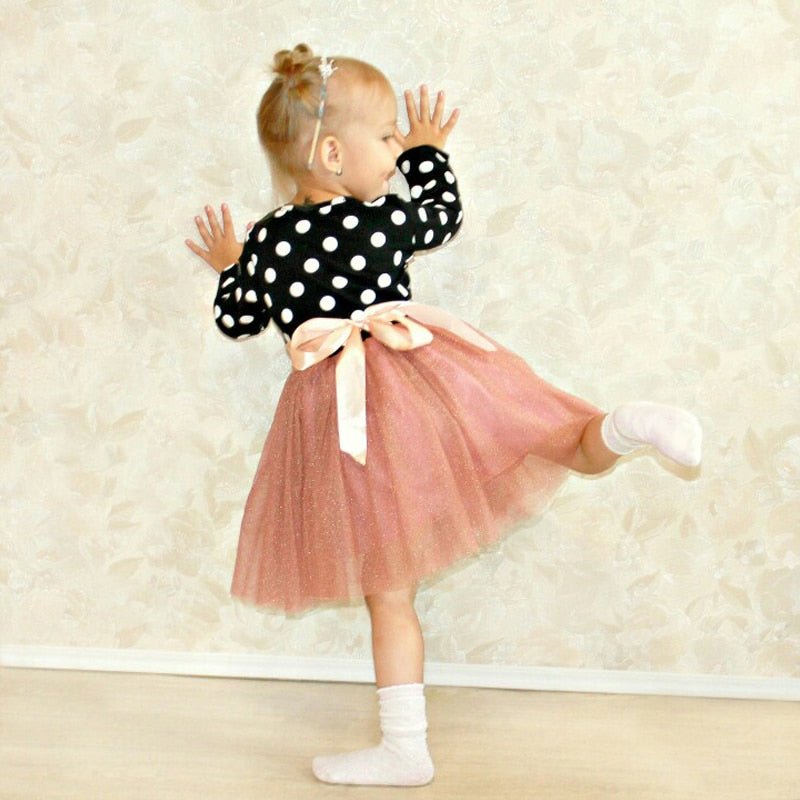 Dot Long Sleeve Dress For Girls Clothing Child Costume Baby Girl Clothing Teenager School Daily Wear Sashes Kids Casual Clothes
