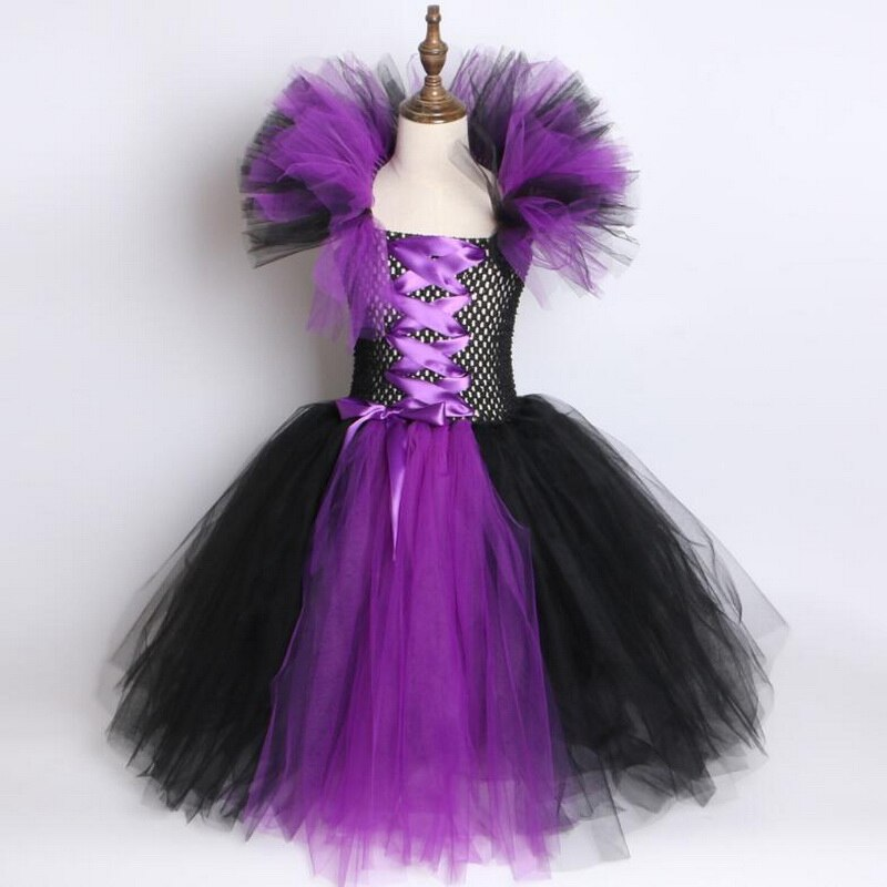 Girls Witch Queen Tutu Tulle Dress with Horns Halloween Cosplay Witch Costume for Kids Fancy Party Dress Children Clothes 2-10yr
