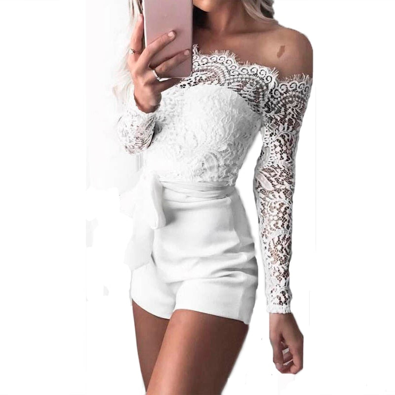 Women ladies summer autumn off shoulder sexy playsuits fashion long sleeve sheer lace patchwork hollow bandage skinny playsuits-BUYALL20