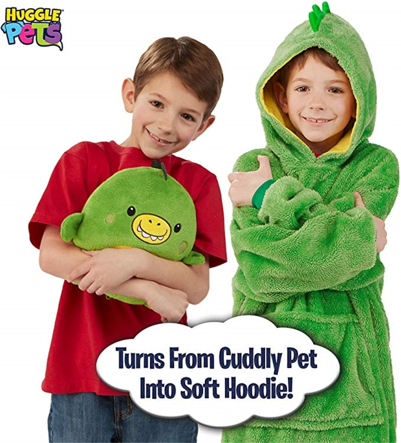 Huggle Pets Hoodie Dinosaur Hooded Sweatshirt Warm Winter Hooded Coats Bathrobe Fleece Pullover For Children For Christmas Gift-BUYALL20