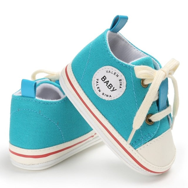 Newborn Baby Shoes 2018 Infant first walkers Tollder Canvas Shoes Lace-up Baby Girls Sneaker Prewalker 0-18M