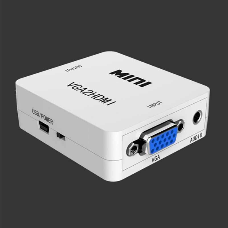 VGA to HDMI Adapter Mini Converter with Audio VGA HDMI 1080p for Projector PC HDTV Monitor TV-box