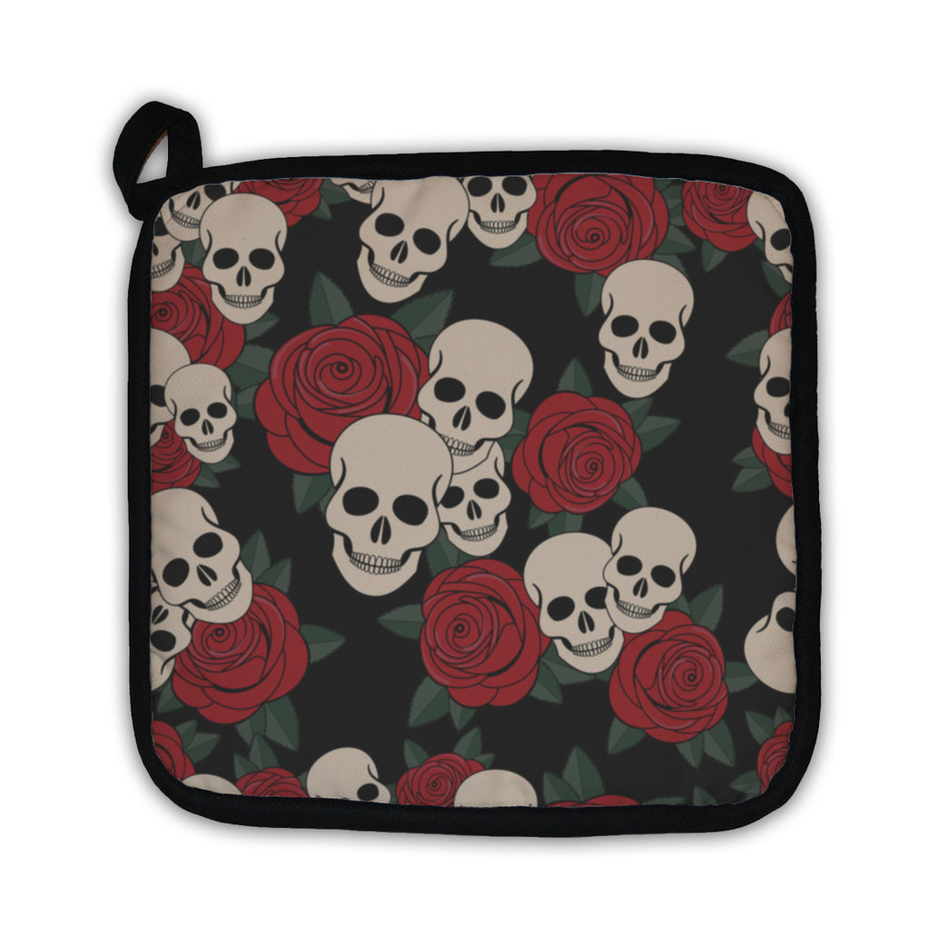 Potholder, Skulls And Roses Colorful Day Of The Dead Card-BUYALL20