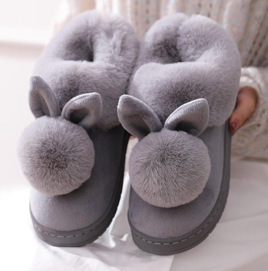 Autumn Winter Cotton Slippers Fur Rabbit Home Warm Thick Bottom Indoor Cotton Shoes Womens Slippers Cute Fluffy Cat Slippers