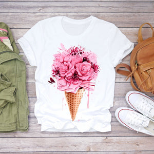 Women 2020 Summer Short Sleeve Floral Flower Fashion Lady T-shirts Top T Shirt Ladies Womens Graphic Female Tee T-Shirt