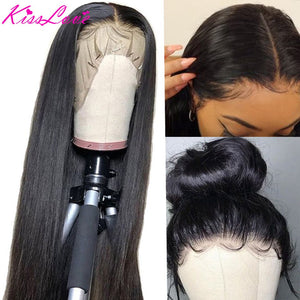 13x6 Lace Frontal Human Hair Wigs Pre Plucked 180% Density Brazilian Straight 13x4 Lace Frontal Wig with Baby Hair Remy KissLove