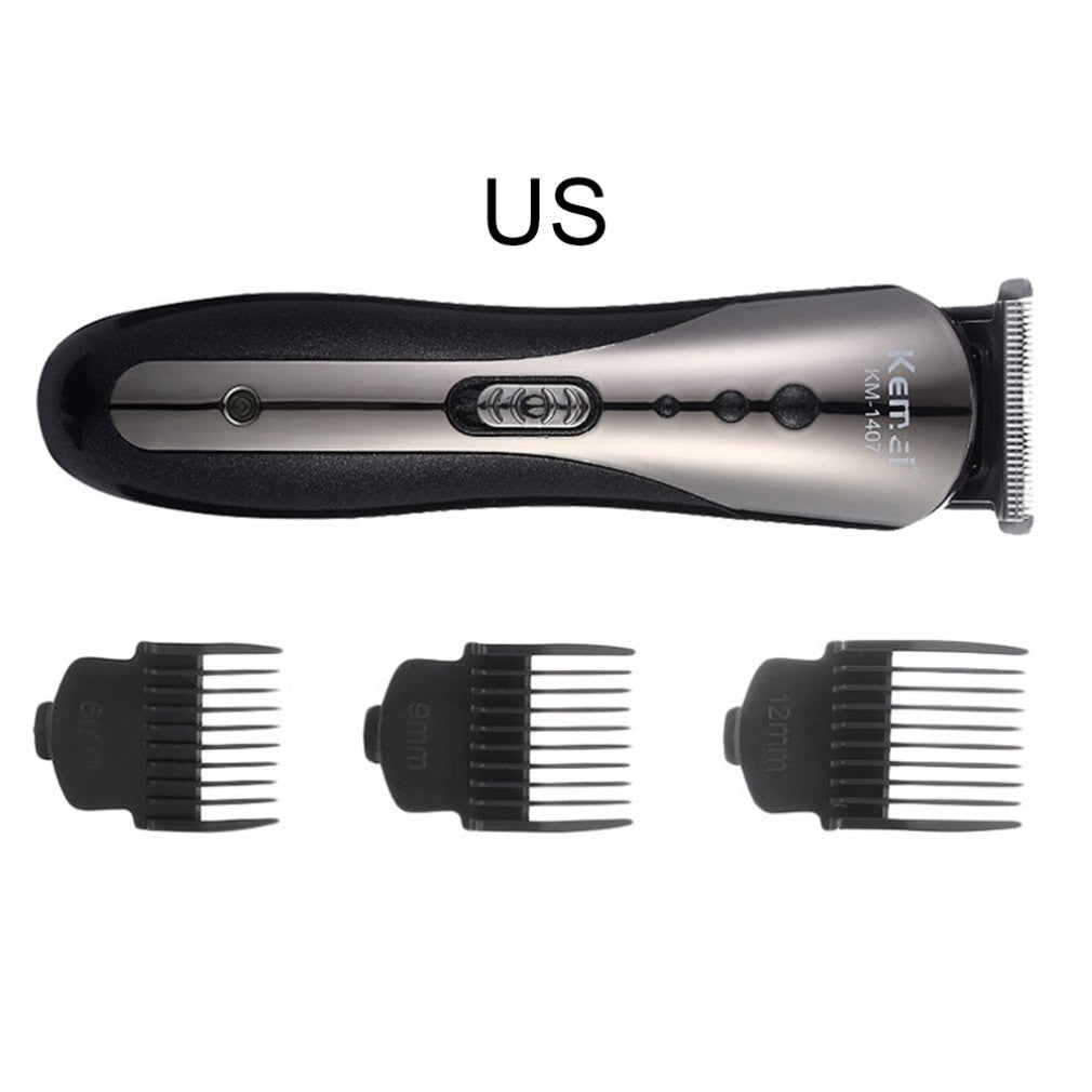 KEMEI KM-1409 Carbon Steel Head Hair Trimmer Rechargeable Electric Razor Men Beard Shaver Electric Hair Clipper