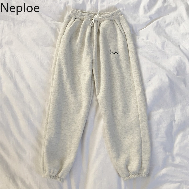Neploe Pants Women 2020 Spring New Embroidery Elastic High Waist Ladies Trousers Loose Casual Beam Feet Pants Femme 1C285