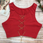 ArtSu Red Black White Metal Chain Sleeveless Crop Top Sexy Clubwear Women Adjustable Lace Up Hollow Out Tank Tops Tees Camisole
