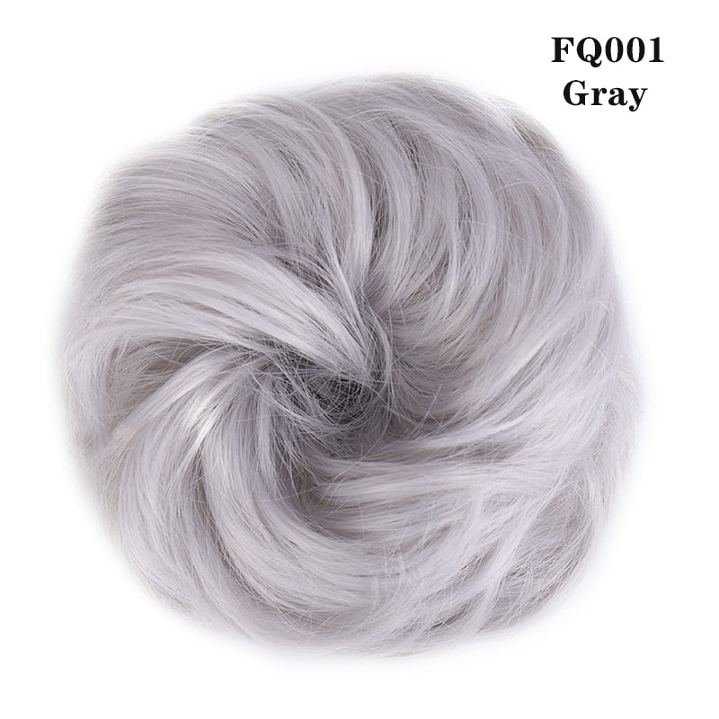 LUPU Synthetic Chignon Messy Scrunchie Elastic Band Hair Bun Straight Updo Hairpiece High Temperture Fiber Natural Fake Hair