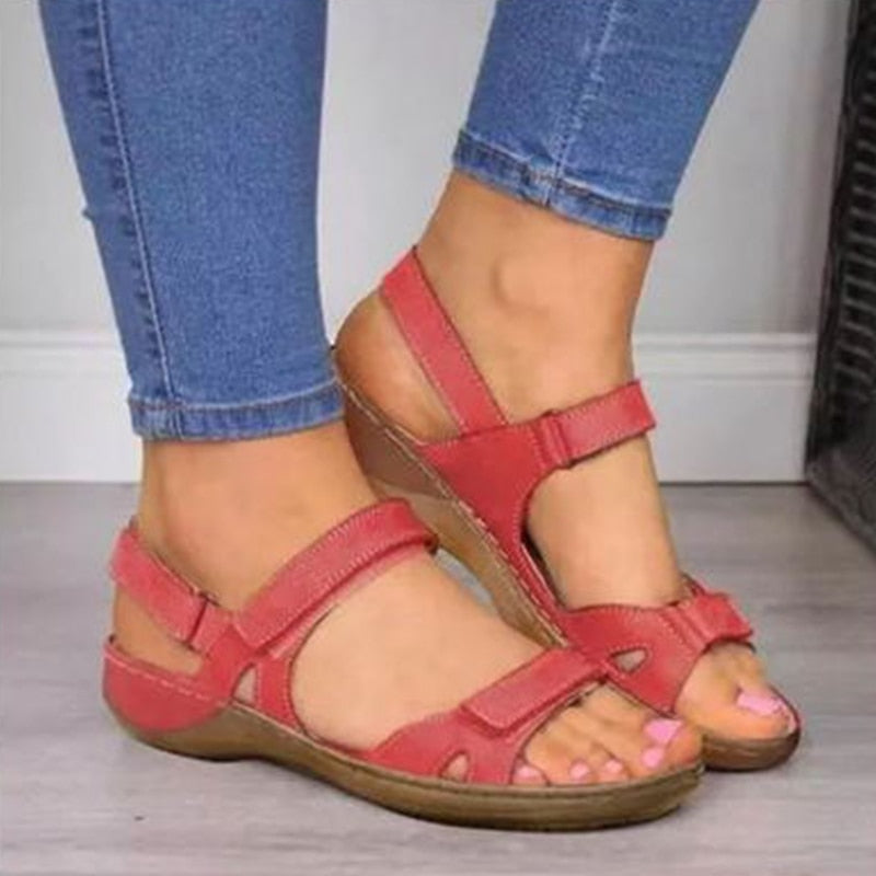 2020 New Women Sandals Soft Three Color Stitching Ladies Sandals Comfortable Flat Sandals Open Toe  Beach Shoes Woman Footwear
