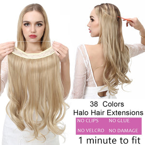 "12'' 14"" 16"" 18"" Wave Halo Hair Extensions Invisible Ombre Bayalage Synthetic Natural Flip Hidden Secret Wire Crown Grey Pink"
