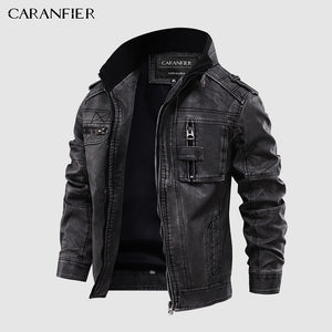 CARANFIER Mens Leather Jackets Motorcycle Stand Collar Zipper Pockets Male US Size PU Coats Biker Faux Leather Fashion Outerwear