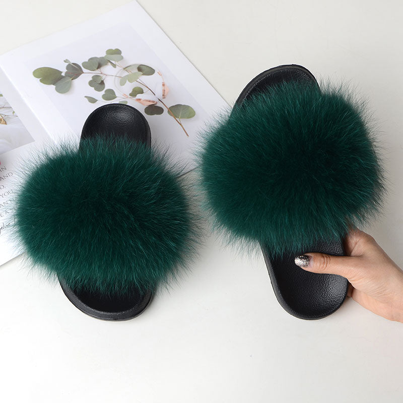 Women Summer Casual Fur Slippers Flat Non-slip Solid Real Fox hair Slides Large Size Slippers Free Shipping