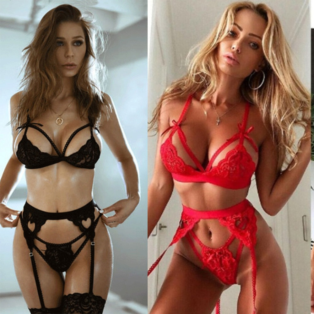 Hot Women Sexy Lingerie Lace Bra Set Underwear Women Girls Babydoll Erotic Lingerie Dress Bra Briefs Set Plus Size S-3XL
