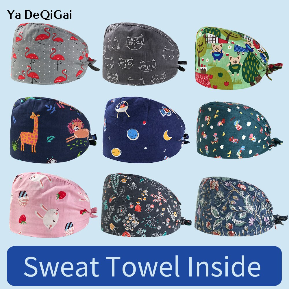 Unisex Cotton work hats printing Laboratory work cap sweat-absorbent pet beauty work hats Elastic pet caring caps wholesale 2020
