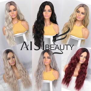 AISI BEAUTY Long Wavy Womens Wig Natural Part Side Hair Ombre Synthetic Wigs Platinum/Blonde/Black Wigs Heat Resistant for Women