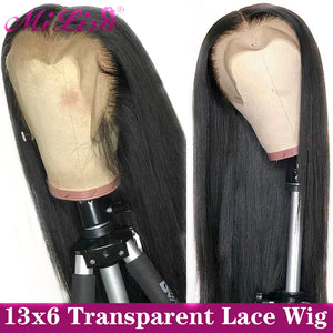 13x6 Straight Lace Front Human Hair Wigs 30 Inch 4x4 Closure Wig Mi Lisa Remy Brazilian Straight Transparent HD Lace Frontal Wig