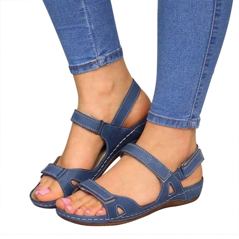 Women Summer Open Toe Comfy Sandals Super Soft Premium Orthopedic Low Heels Walking Sandals  Toe Corrector Cusion