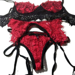 5colors Valentine's Day Women Sexy  set Lace Babydoll Open Bra Set G-String Underwear Nightwear Bra & Brief Sets