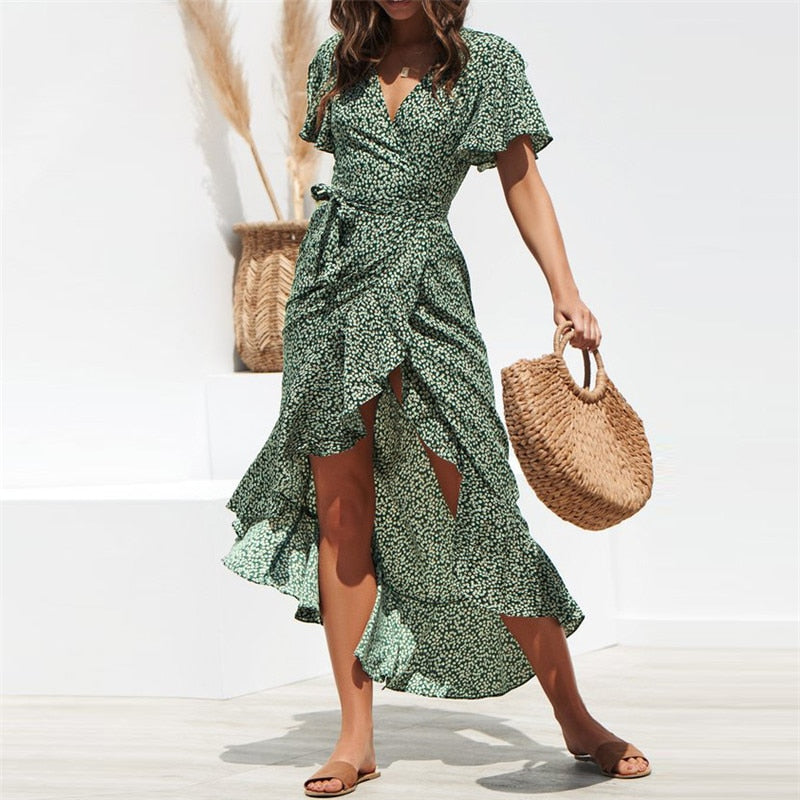 HiloRill Summer Beach Maxi Dress Women Floral Print Boho Long Dress Ruffles Wrap Casual V-Neck Split Sexy Party Dress Robe Femme