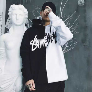 Black White  Splice Hoodies Oversize Hip-hop Style Swag Tyga Hoodie Autumn Winter Warm Thick Hoodies US Size XS-XL