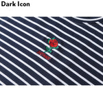 Dark Icon Rose Embroidery Striped Mens T-shirt Short Sleeve 2019 Summer Hi-street Oversized Hip Hop Tshirt Cotton Tee Shirts